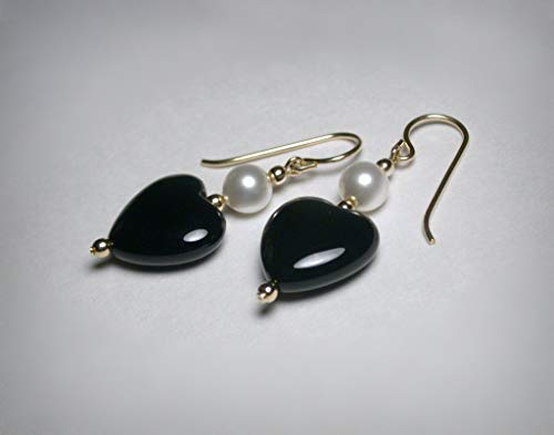 Genuine black onyx heart earrings, with Swarovski faux pearls, in 14K yellow gold filled. Black heart and white earrings.