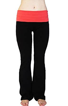 Popular Basics Women's Cotton Yoga Pants With Fold Down Waist-black/coral red