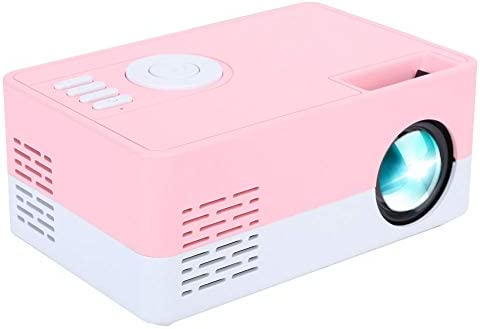 1080p Mini Full HD Projector, High Definition LED Portable Projector Smart Home Theater Cinema Projector for Home and Office (White Pink)(US)