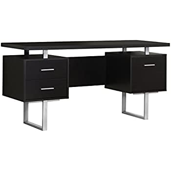 Delightful Monarch Specialties Cappuccino Hollow Core/Silver Metal Office Desk, 60 Inch
