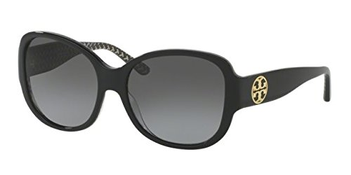 Tory Burch Women's TY7108 Sunglasses Black/Black White Zig Zag / Grey Gradient Polarized - Tory Burch Polarized