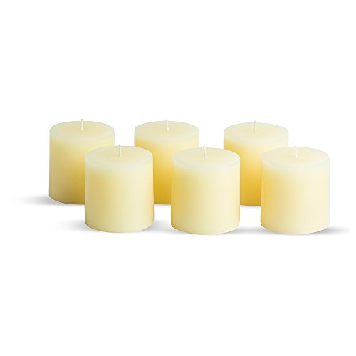 Simplicité Pillar Candles Unscented Set of 6 by in Ivory Colour 3 inch by 3 inch | Hand-Poured Candles with Finest Wax Blend and German Cotton Wicks | Burn Time Upto 35 Hours by Simplicité