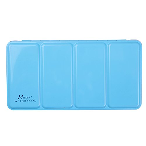 MEEDEN Empty Watercolor Tins Box Palette Paint Case, Large Blue Tin, Will Hold 48 Half Pans or 24 Full Pans