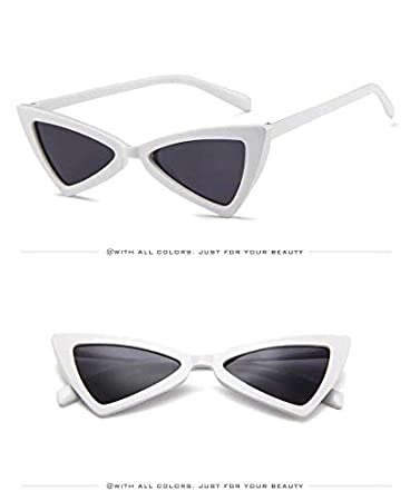 0d7be31438 Cat Eye Sunglasses( White) for Women Men High Pointed Triangle Glasses   Amazon.in  Toys   Games