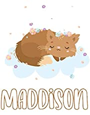 Maddison : Cute Cat Journal: Notebook With Name On Front Cover, 120 pages College Ruled Notebook Journal & Diary for Writing & Note Taking for Girls and Women (Cute Cat Personalized Notebooks For Girls And Women)