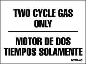 Two Cycle Gas Only decal 1.5