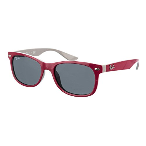 Ray-Ban Kids' New Wayfarer Junior Square Sunglasses, Top Red Fuxia on Gray 177/87, 47 - Ray Bans Red Sunglasses