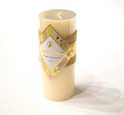Orange Vanilla Pillar - Luna Lumia Rustic Scented Pillar Candle – No-Drip Smokeless Decorative Wax Candles. Gentle Fragrance for a Calm, Relaxing Romantic Atmosphere. Valentines scented candle Ivory, Vanilla Scent 3x6