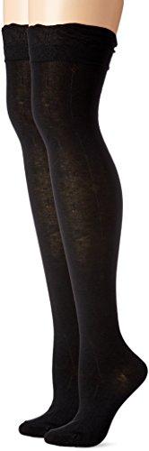Steve Madden Women's Ruffle Cuff Over the Knee Sock 2 Pack, Black/Black, 9-11 (Plus Size High Socks)
