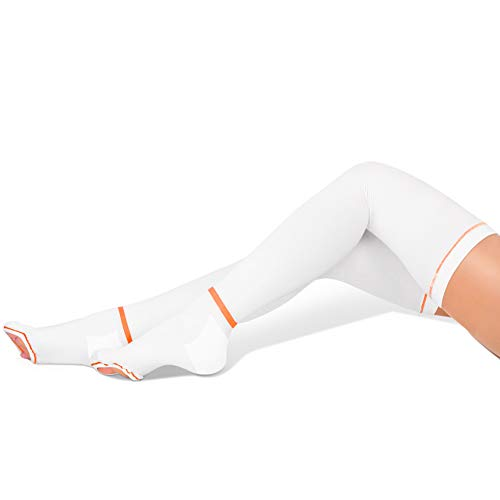 GILLYA T.e.d. Anti Embolism Stockings Thigh High, White TED Stockings for Women Men, 15-20 mmHg Compression TED Hose with Inspect Toe Hole (White,Medium)