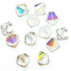 Steven_store SCB6519 Frost Mix Clear AB Opal Moonlight 8mm Bicone Swarovski Crystal Bead 12pc Making Beading Beaded Necklaces Yoga Bracelets - Opal Ab Bicone Crystal Beads