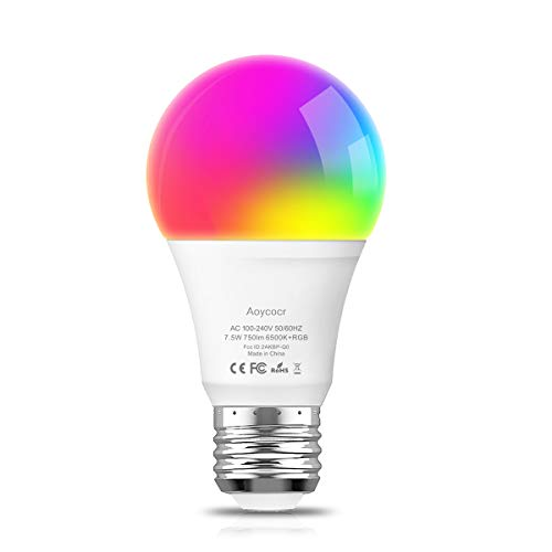 Smart LED Light Bulb RGB Color Changing Light Bulb - Daylight 6500K - 750 Lumens - E26 Base - Dimmable - Works with Alexa Google Home - No Hub Required - UL ETL Listed