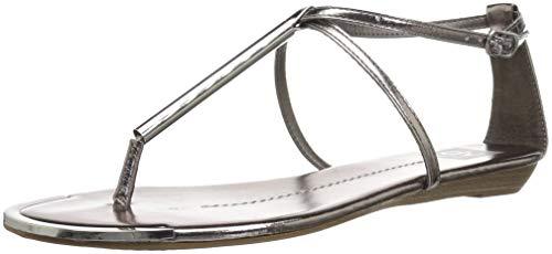 DV by Dolce Vita Women's Archer Flat Sandal, Pewter Metallic Stella, 7 M US