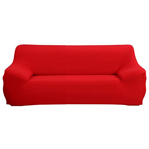Stretch Sofa Cover - Sofa Covers Slipcover Sofa - 1-Piece 1 2 3 4 Seater Furniture Protector Polyester Spandex Fabric Slipcover With a Pillow Cover for Children and Pets Dark Red (3 2 Furniture 1)
