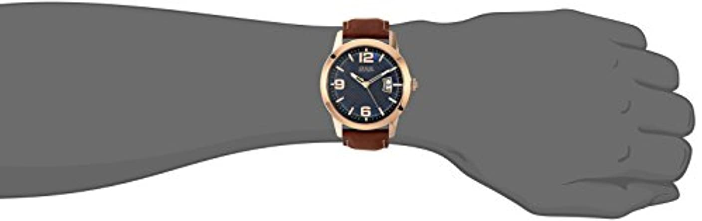 GUESS Men s Stainless Steel Leather Watch, Color Brown Model U0494G2