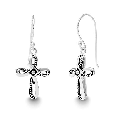 (Willowbird Oxidized Sterling Silver Textured Beaded Cross Dangle French Wire Earrings for Women (Beaded Cross))