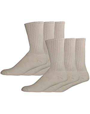 Men's Enhanced and Soft Feel Cushion Crew Socks, White, 6 Pair
