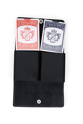 Juniper Tree Leather Double Playing Cards Case - Black Full Grain Leather - Leather Card Holder for Poker Cards or Other Playing Card Games - Custom Playing Card (Double Playing Card)