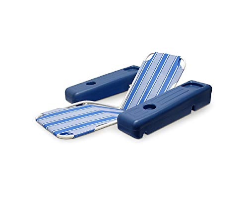 Blue and White Striped Caribbean Floating Swimming Pool Comfort Lounge, ()