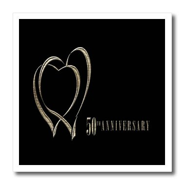 Beverly Turner Photography Two Gold Hearts 50th Anniversary 6 by 6-Inch Iron on Heat Transfer Paper