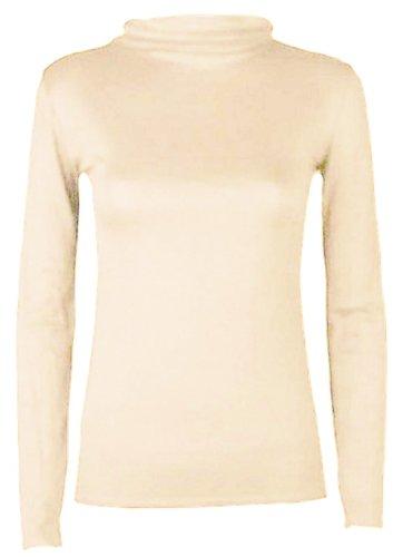 collo dolcevita e Cream da Hanger lunghe Hot maniche con donna maglietta qxwWUTnFC