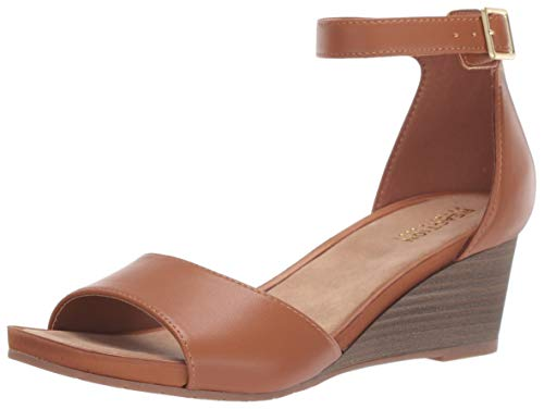 - Kenneth Cole REACTION Women's Roll Wedge Ankle Strap Sandal, Tan 8.5 M US