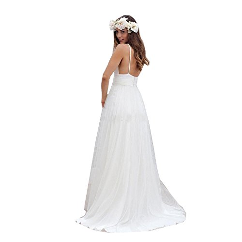 Womens Spaghetti Straps Long Beach Wedding Dresses Bridal Gowns