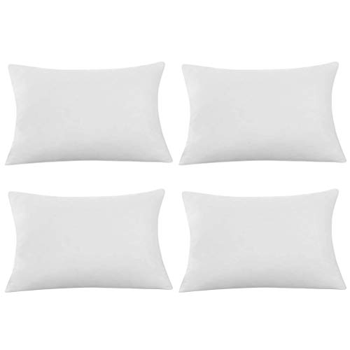 MEANIT Pillow Covers, White Pillow Covers, Set of 4 Cozy Rectangle Decorative Throw Pillow Covers for Couch and Bed