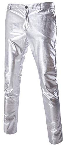 Smooth Silber Black Lunghi Uomo Autunno Dritti Da Primavera Pantaloni Show Popular Fur Slimm Stile Metallic Lanceyy Semplice Fashine Performance Su AHFYqPxR