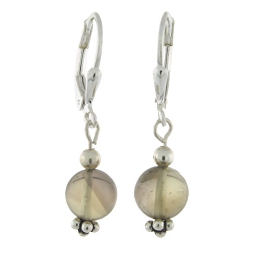 (Sterling Silver 8mm Gemstone Bead Lever Back Bottom Dot Flower Earrings, Smoky Quartz)