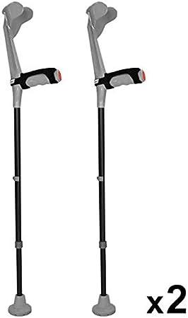 KMINA - Muletas adulto regulables aluminio, Muletas ortopédicas, Muletas ergonomicas, Muletas adulto acolchadas, Muleta COMFORT PLUS Pack de 2 unidades color gris