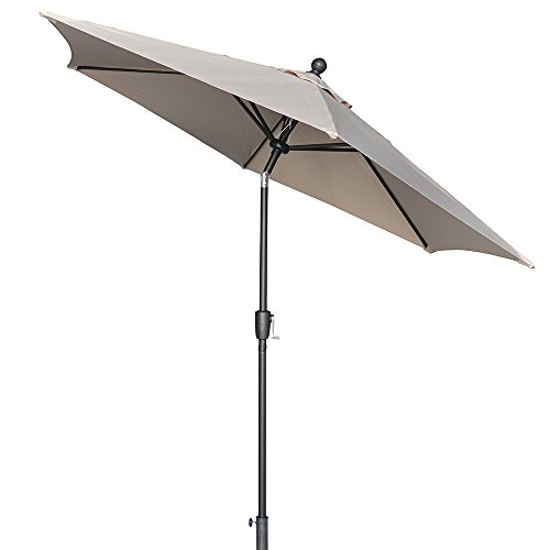 LCH 9 ft Outdoor Umbrella Patio Backyard Market Table Umbrella Sturdy Pole Push Button Easily Tilt Crank with Umbrella Cover (Light Beige/Tan)