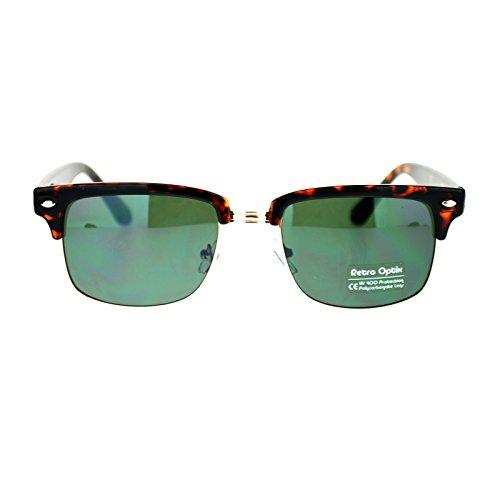 Mens Narrow Rectangular Half Rim horned Clubmaster Sunglasses Tortoise - Glasses Shell Rim Tortoise Half