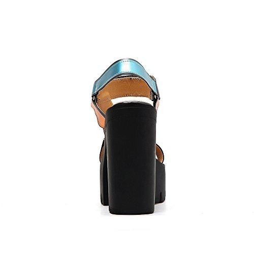 tacco impermeabile di color toed alta open tacchi moda sandali spessa nuovi scarpe con con ZHZNVX Black sandali nz6t16I