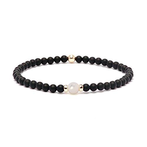 Asortis Black Matt Onyx Gemstone Gold Filled 4mm Bead Bracelet (Mother of Pearl) ()