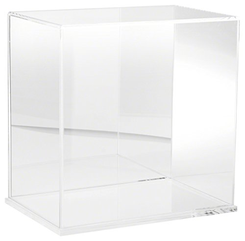 Plymor Clear Acrylic Display Case with Clear Base Mirror Back , 12 W x 8 D x 12 H