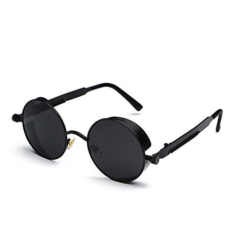 sol Lente de metal Gafas retro Gafas de de de sol color de de círculo Negro Aiweijia moda Marco Gris g6wZEgqv
