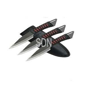 3 Pieces 6″ Serrated Throwing Knife Set Black/Red Nylon Wrapped Handle, Outdoor Stuffs