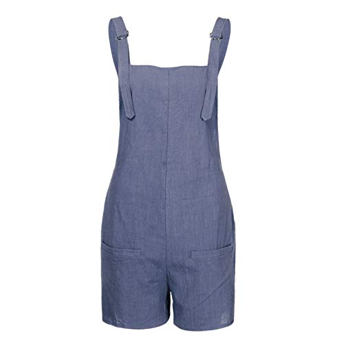 Thenxin Womens Loose Dungarees Overalls Suspender Jumpsuit Solid Color Short Trousers(Blue,S)