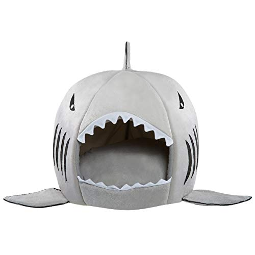 Hollypet Self-Warming Shark Pet House Bed 2 in 1 Foldable Removable Cushion Mat for Dogs and Cats, 14.5 x 14.5 inches