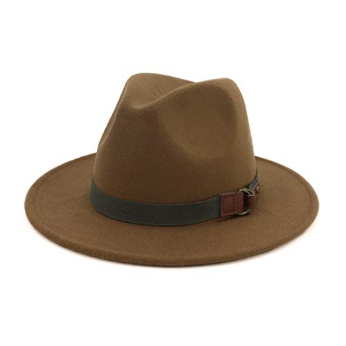 Winter Autumn Imitation Woolen Women Men Fedoras Top Buckle Fedoras Hat Costume Accessory Jazz Hat Round Caps Khaki]()
