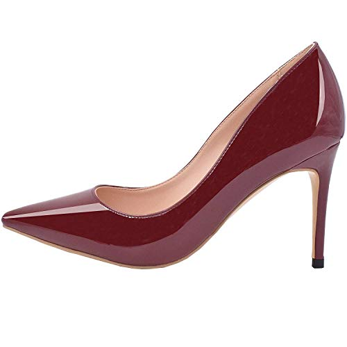(Lovirs Womens Wine Red Office Basic Slip on Pumps Stiletto Mid-Heel Pointy Toe Shoes for Party Dress 8.5 M US)
