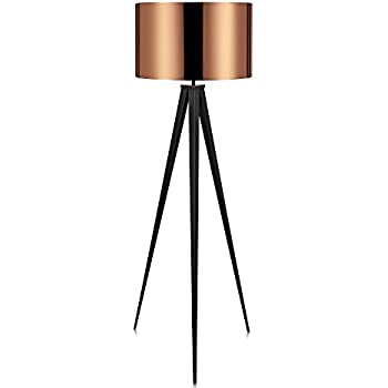 wooden tripod floor lamp amazon with grey shade reading light living room bedroom foot switch copper drum matte black stand spotlight