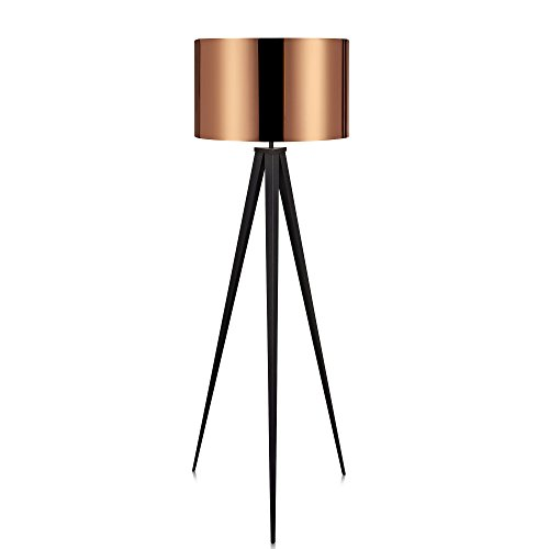 Versanora VN-L00005 Romanza Modern LED Tripod Floor Lamp Tall Standing Light with Drum Shade Metal Legs for Living Room…