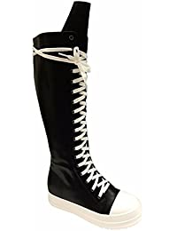 Sophia 63 Womens Lace Up Knee High Sneakers Boots Black