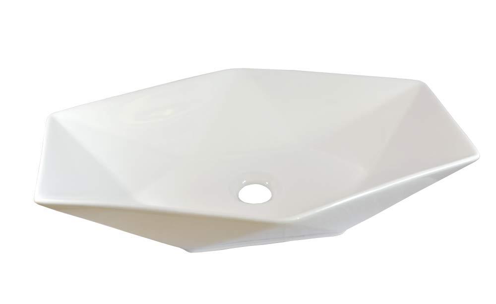 1 x Lavabo en c/éramique ovale grand de lavage Vasque /à Poser en C/éramique Salle de Bain Diamant Blanc 56,5x36,5x12