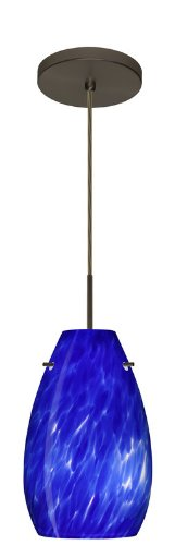 Besa Lighting 1JT-412686-BR Pera 9 Collection 1-Light Mini-Pendant, Bronze Finish with Blue Cloud Art Glass Shade