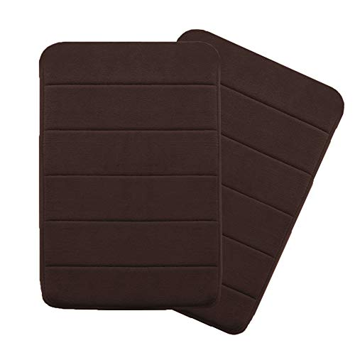 Soft Non Slip Absorbent Bath Rugs Absorbent Soft Comfortable Thick Machine Wash Easier to Dry for Bathroom Floor Rug Memory Foam Two Pieces Bath Mat (Brown Striped Pattern, Size:W17 xL24)