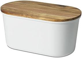 """Echtwerk Brotbox """"Fresh"""" Brotkasten, Akazienholz/Melamin, weiß, 37 x 17 x 22 cm"""
