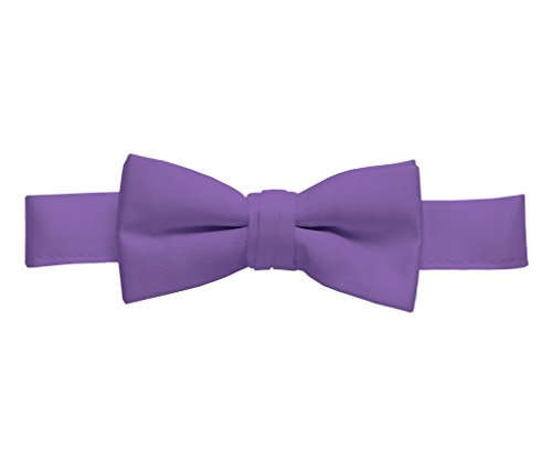 Hold'Em Bow Tie For Mens Boys and Baby Satin look Solid Color Adjustable Pre-tied Made in USA - Men Lilac Lavender (Lilac Cummerbund)